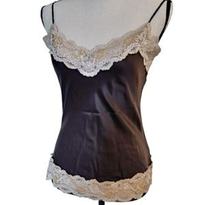 New York & Company Tops - Brown 100% Silk Cami Embellish Lace